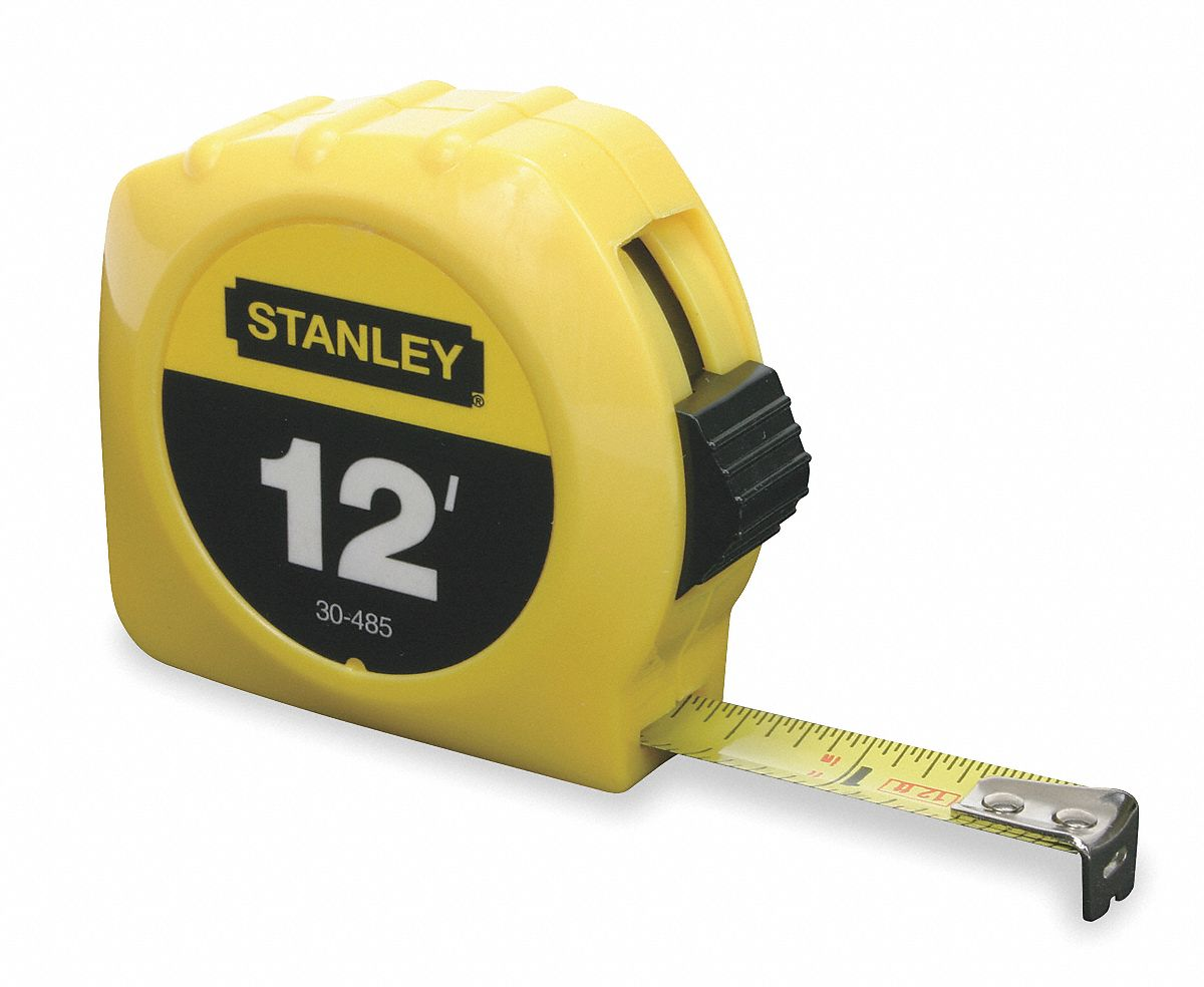 12 ft Steel SAE Tape Measure, Yellow