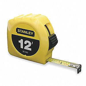 Tape Measure,1/2 In x 12 ft,Yellow,In/Ft