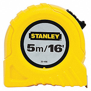 Tape Measure,3/4Inx16 ft,Yellow,In/Ft/mm