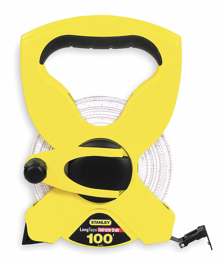 STANLEY 100 ft Fiberglass SAE Long Tape Measure BlackYellow