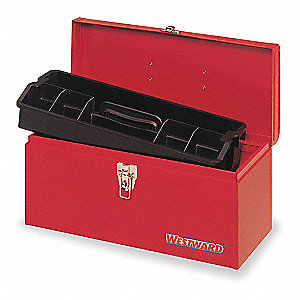 "Portable Tool Box, Plastic, Steel, 16"" Overall Width x 7"" Overall Depth"