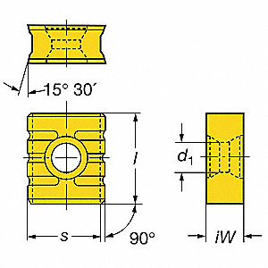 Rectangle Milling Insert, 215.3 1211-Serrated Edge H13A