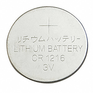 Lithium Coin Cell, Voltage 3, Battery Size 1216, 1 EA