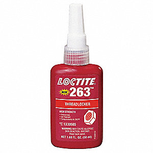 263 Series High-Strength Primerless Threadlocker, Red Liquid, 50mL Bottle