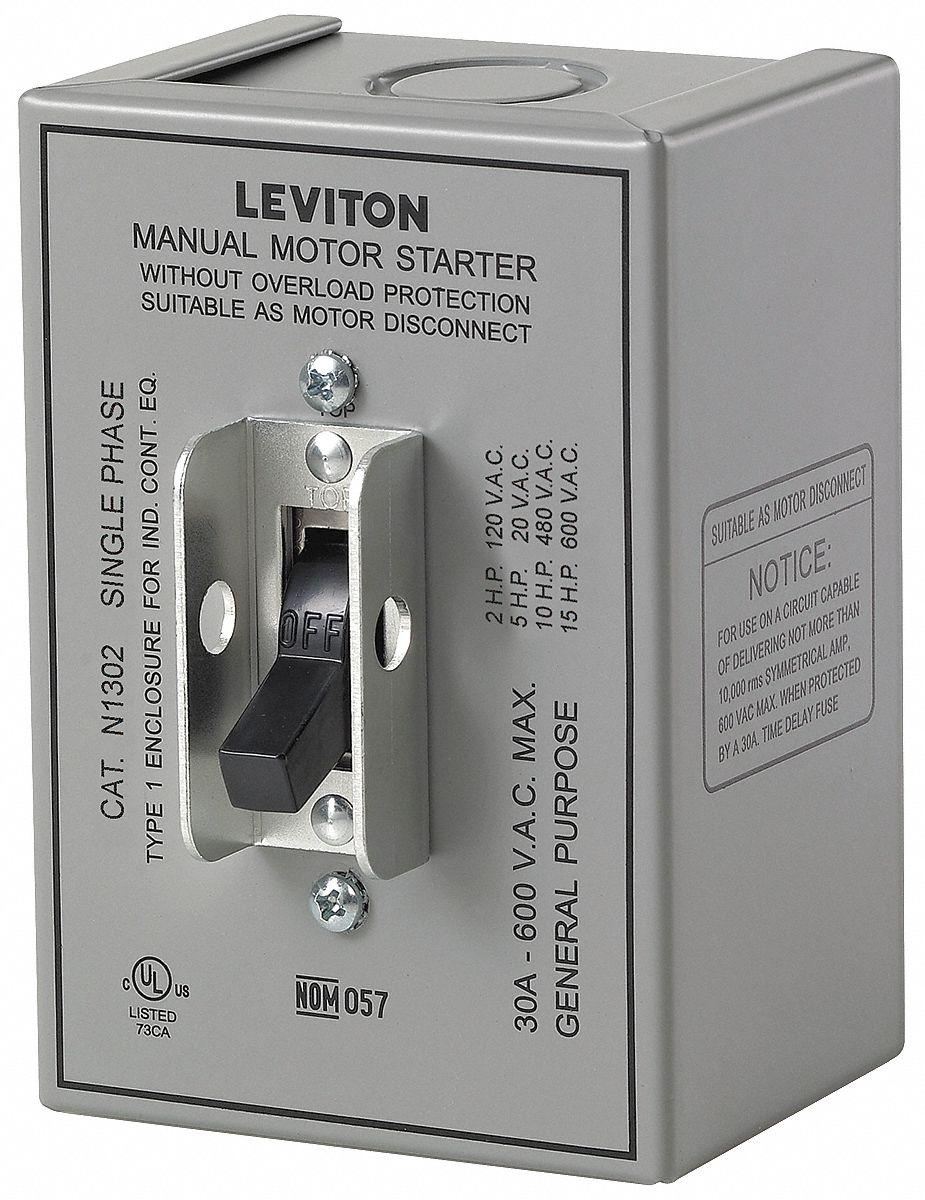 LEVITON Manual Motor Switch, 30 Amps AC, Toggle Operator - 5HYT8 ...
