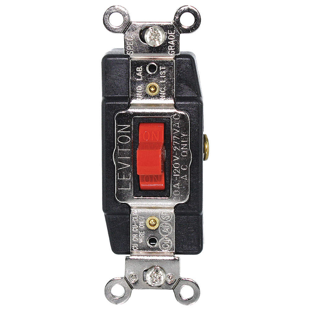 LEVITON Wall Switch, Switch Type: 1-Pole, 3 Position, Center Off ...