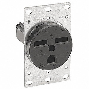 220 Outlet Wiring >> LEVITON 30, Industrial, Receptacle, Black, No Tamper ...