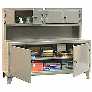 Cabinet Workstation, 12-ga. Steel Top Material, 72 Top Width (In.), 62 Overall Bench Height (In.)