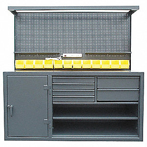 Cabinet Workstation, 12-ga. Steel Top Material, 72 Top Width (In.), 72 Overall Bench Height (In.)