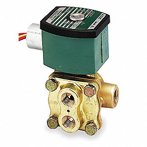 "120V AC Brass Solenoid Valve with Manual Operator, 3/8"" Pipe Size"