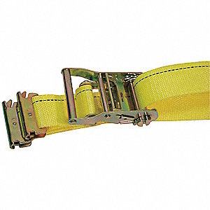 "Tie Down Strap, 12 ft.L x 2""W, 1166 lb. Load Limit, Adjustment: Ratchet"