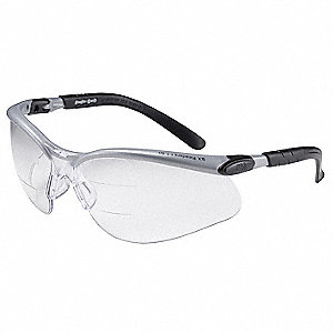 Clear Anti-Fog Bifocal Safety Reading Glasses, +1.5 Top and Bottom Diopter