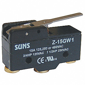 Industrial Snap Action Switch, SPDT Contact Form, 125/250/480VAC Voltage Rating, 15A Current Rating