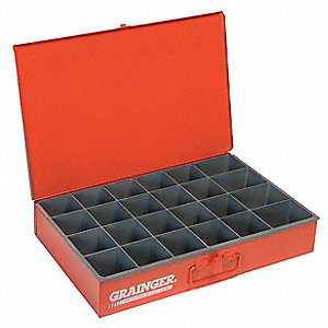 Steel Compartment Drawer, Compartments per Drawer: 24, Removable Dividers: No, Red