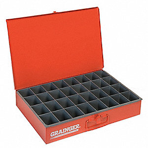 Steel Compartment Drawer, Compartments per Drawer: 32, Removable Dividers: No, Red