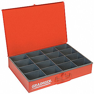 Steel Compartment Drawer, Compartments per Drawer: 16, Removable Dividers: No, Red