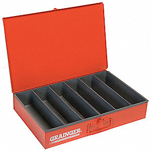 Steel Compartment Drawer, Compartments per Drawer: 6, Removable Dividers: No, Red