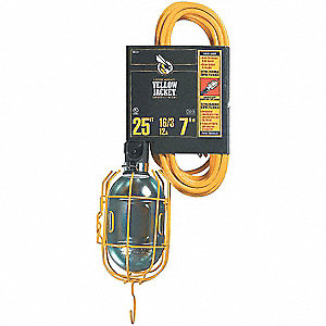 Incandescent Hand Lamp, 75 Lamp Watts, 25 ft. Cord Length, Yellow, Includes Grounded Guard