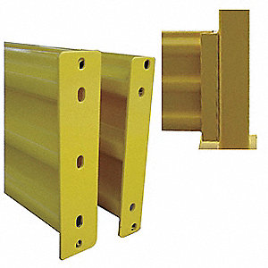 "Safety Yellow Steel Guard Rail Bolt On Mounting Style, 6"" Overall Length"