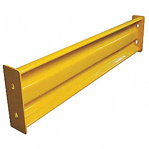 Safety Yellow Steel Guard Rail Bolt On Mounting Style, 4 ft. Overall Length