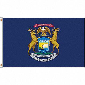 MICHIGAN FLAG,5X8 FT,NYLON