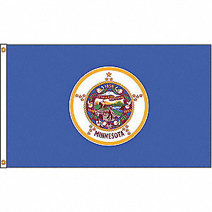 Minnesota State Flag, 5 ft.H x 8 ft.W, Indoor, Outdoor