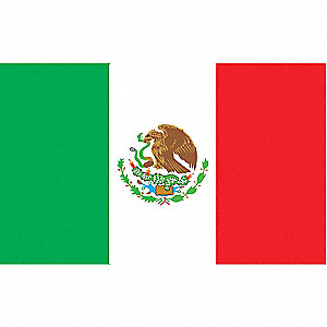 Mexico Country Flag, 3 ft.H x 5 ft.W, Indoor, Outdoor