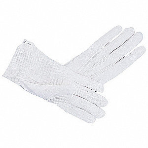 Parade Gloves, Cotton Material, Knit Wrist Cuff, White, Glove Size: XL