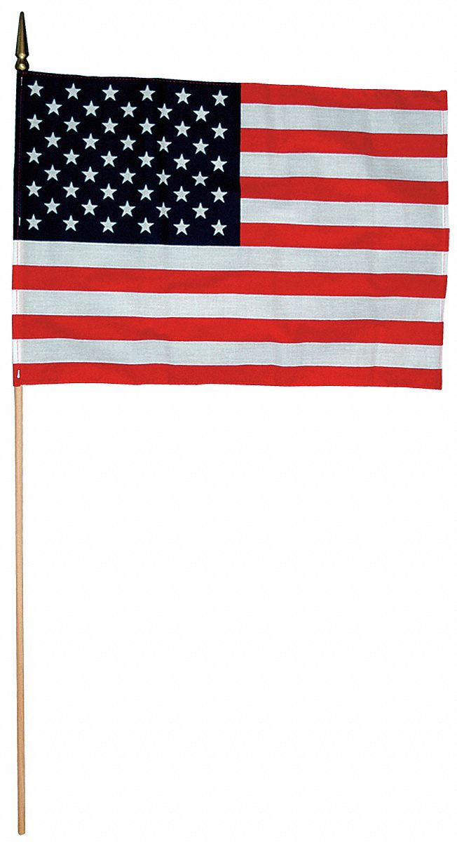 US Hand Held Flag Set, 8 in Height, 12 in Width, Includes 24 in Staff
