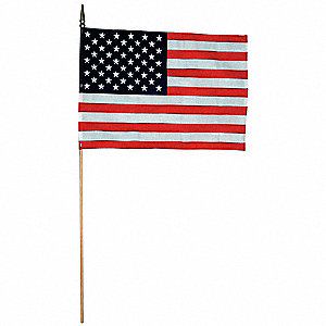 "US Hand Held Flag Set, 12"" Height, 18"" Width, Includes 30"" Staff"