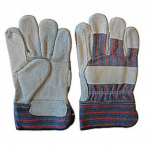 Cowhide Leather Work Gloves, Safety Cuff, Gray/Blue, Size: XL, Left and Right Hand