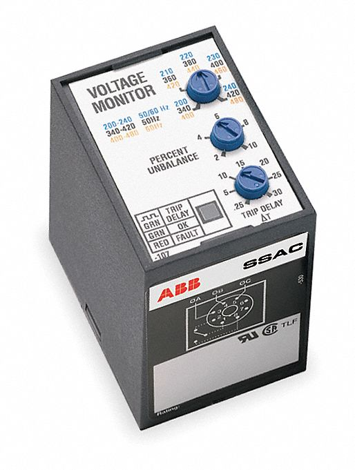 SSAC Phase Monitor Relay, 200 to 480VAC, 8 Pins, SPDT