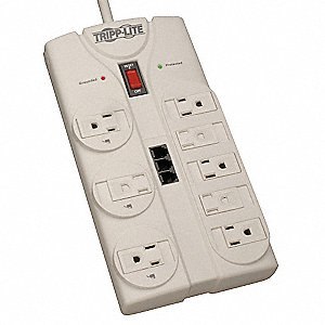 8 ft. Datacom Surge Protector, White&#x3b; No. of Total Outlets: 8