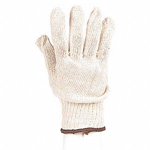 White Heavyweight Knit Gloves, Polyester/Cotton, Size L, 7 Gauge