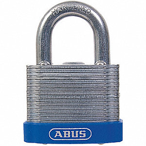 "Different-Keyed Padlock, Open Shackle Type, 7/8"" Shackle Height, Silver"