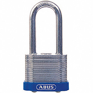 "Alike-Keyed Padlock, Open Shackle Type, 2"" Shackle Height, Silver"