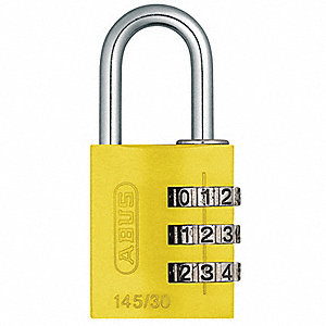 "Combination Padlock, Resettable Side-Dial Location, 1"" Shackle Height"