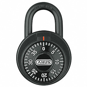 "Combination Padlock, Not Resettable Front-Dial Location, 13/16"" Shackle Height"