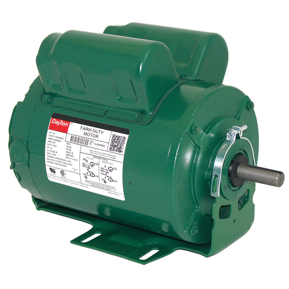 DAYTON 1 HP Agricultural Fan Motor,Capacitor-Start/Run,1725 ...