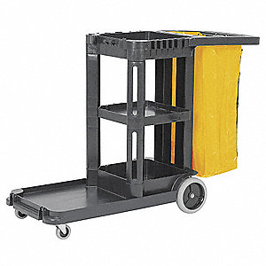 Black, Polypropylene Janitor Cart