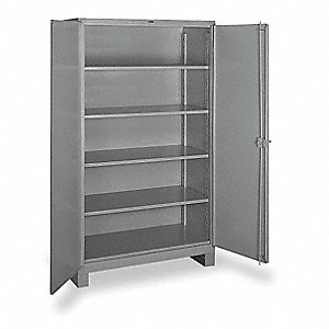 "Storage Cabinet, Gray, 82"" Overall Height, Assembled"