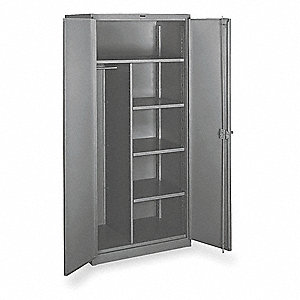 "Heavy Duty Storage Cabinet, Gray, 82"" H X 60"" W X 24"" D, Assembled"