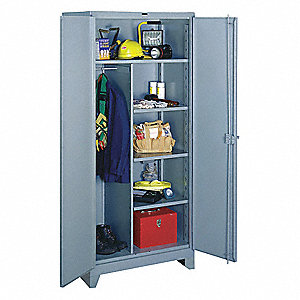 "Heavy Duty Storage Cabinet, Gray, 82"" H X 36"" W X 24"" D, Assembled"