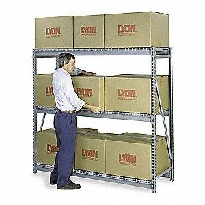 "96""W x 24""D x 72""H 14 ga. Steel Bulk Storage Rack Starter Unit, Dove Gray&#x3b; Number of Shelves: 3"