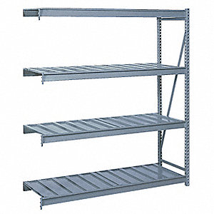 "Add-On Bulk Storage Rack with Ribbed Steel Decking and 3 Shelves, 60""W x 36""D x 72""H"