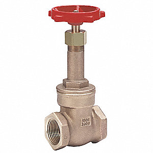 "Class 125 FNPT Gate Valve, Inlet to Outlet Length: 2-1/8"", Pipe Size: 3/4"", Max. Fluid Temp.: 406°F"