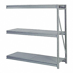 "Add-On Bulk Storage Rack with Steel Decking and 3 Shelves, 72""W x 24""D x 84""H"