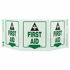 First Aid Sign,7 1/2 x 20In,GRN/WHT,ENG