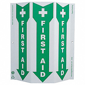 "First Aid, No Header, Plastic, 12"" x 9"", With Mounting Holes, 3-Sided"