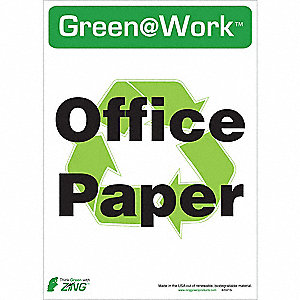 "Recycling, Green@Work, Plastic, 14"" x 10"", Adhesive Surface"